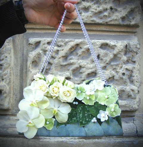 White vanda on a purse for a bride…